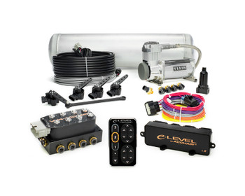 "Product Information  The e-Level TouchPad Air Management Package combines all of the highest quality components available to control your Air Springs in one easy to order part number. This kit includes our top-of-the-line e-LevelTM Controller with TouchPad interface, VU4 4-Corner Valve Manifold, 5-gallon Aluminum Air Tank, Serviceable Aluminum Air Filter, 3/8"" D.O.T. Approved Plumbing Kit, and the most detailed Installation & Operation Manuals on the market.   AccuAir e-Level Air Management Package w