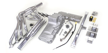 Hello LSx Guys!. Get your C10 on the road daily - get your project on the road with this swap kit!   This swap kit is for 1964-1972 GM ½ ton 2 wheel drive trucks. It was designed around our GM LH8 oil pan. Unlike most LS swap parts on the market this kit replaces the frame brackets in addition to the mounts so you'll have clean mounting of your engine and not a mix of parts that are weak and don't work together properly. The frame brackets bolt into existing holes in the frame and locates the engine to give you the most options for front accessories drives. Unlike others, our kit positions the engine so there is no steering interference and maintains the proper drive-line angle for smooth highway cruising. It provides clearance for the factory AC box, power brake booster, and aftermarket suspension components.  Optional headers that give unparalleled performance and ground clearance with sizes that are matched to your engine combo. These combined parts offer an easy, strong, and clean installation of your LS engine.   65-72-c10-full-kit.jpg     This kit includes the following:  Mount and Crossmember Kit  Includes motor mounts, frame brackets, transmission crossmember, transmission mount, and hardware.  Manufactured from the highest grade American made steel. They're laser cut, precision bent, powder coated and feature polyurethane bushings.  Comes with a lifetime free replacement warranty on the bushings.  c10-64-72-truck-kit-crossmember.jpg   LH8 Oil Pan kit  The oil pan our kit was designed around. Comes standard or machined for the oil bypass valve for use with displacement on demand or variable valve timing. Includes new full length windage tray, pickup tube, hardware, gasket, dipstick, and our pickup tube girdle.  lh8-pan-kitsm.jpg   Optional Oil Pump Pickup Tube Girdle  Original GM oil pickup tubes are fastened to the pump with only one bolt with a tear drop shaped mating flange on the tube. There is another threaded bolt hole on the other side that is not used. Our Girdle is cnc machined aluminum and goes over the original mating flange, wraps around the tube, and fastens using both bo