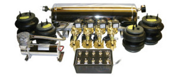 """1- ViAir 444 Compressor, 1- 5 Gallon Chrome Multiport Tank, 8- 1 way 3/8"""" SMC Valves, 1- 200psi. Pressure Switch, 1- 10 Switch Pre-wired Box, 1- Single Needle Pressure Gauge, 4- Air Bags, All fittings and 60ft. Air Line."""