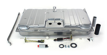 These conversion fuel tanks solve the problem of supplying your new LS engine with a steady flow of fuel. The tanks, made specifically for your car, feature a recessed area in the top for the fuel pump module and sending unit, so no floor modifications are needed for clearance. They have an innovative baffling system inside to control fuel slosh and keep the pump fed even at low fuel levels and extreme driving conditions. They are galvanized steel and powder coated silver for maximum durability. The kit includes a fuel sending unit designed to work with your factory style fuel gauge. The included fuel pump module features an in-tank wiring harness and three ports - one for the feed line, one for the return line, and one for the vent. The kit has two available Walbro fuel pump options. The standard 255 LPH pump or the 400 LPH pump for supercharged or 550+hp applications. The kit also includes tank straps, vent filter, gaskets, and hardware. They look like original equipment from under the car and are absolutely the best way to go when converting to EFI.