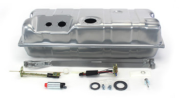 Corvette Tank Time!  These conversion fuel tanks solve the problem of supplying your new LS engine with a steady flow of fuel. The tanks, made specifically for your car, feature a recessed area in the top for the fuel pump module and sending unit, so no modifications are needed for clearance. They have an innovative baffling system inside to control fuel slosh and keep the pump fed even at low fuel levels and extreme driving conditions. They are galvanized steel and powder coated silver for maximum durability. The kit includes a fuel sending unit designed to work with your factory style fuel gauge. The included fuel pump module features an in-tank wiring harness and three ports - one for the feed line, one for the return line, and one for the vent. The kit has two available Walbro fuel pump options. The standard 255 LPH pump or the 400 LPH pump for supercharged or 550+hp applications. The kit also includes tank straps, vent filter, gaskets, and hardware. They look like original equipment from under the car and are absolutely the best way to go when converting to EFI. Fits 63-67 Corvette