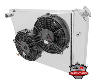 """Add the complete package to your ride with the Griffin performance brand backing it! These high radiator/cooling fan combos deliver cooling capability for extreme horsepower mixed with modern styling, and made here in America! Griffin brings you the complete package with lightweight aluminum radiators that are constructed with 1.25 inch induction welded MegaCool tubing, high performance electric fans, hand-formed aluminum shrouds, wiring harnesses, and radiator caps for a complete, no-hassle install. Stop trying to piece together your cooling system, and get the proven system that works! Griffin! Ask for it by name!     Aluminum crossflow radiator with inlet on upper passenger side, outlet on lower passenger side. Measures 25.5 W x 17 H x 2.68 D. Includes transmission cooler, dual 14"""" electric fans that flow 2,596 CFM and have a black shroud. Perfect for your LS powered 93-02 F-body  If you are LS Swapping your 4th Gen F-body, you definitely want it to stay cool! Here is how you will do it!  1993 - 2002 4th Gen Camaro/Firebird & Trans Am Outlets: Top Driver & Bottom Passenger Core: 24.82 x 16.63 Auto Transmission"""