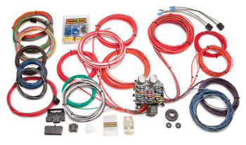 21 Circuit Classic Customizable Trunk Mount Chassis Harness The Highest Quality Wire You Can Buy: Painless uses high-temperature, abrasion-resistant TXL wire which has twice the voltage rating of standard, general purpose wire. It withstands up to 275° and does not kink.  Compact, Corrosion-Resistant, OE-Style Fuse Block: Features modern blade-type fuses and clearly labeled circuits.  Wiring Preterminated to Fuse Block: Wires are preprinted with the application and GM color-coded.  Superior Circuit Protection with 50 amp Maxi-Fuse: Unlike a fusible link that melts during an electrical short, the easy-to-install large-bladed Maxi-Fuse is designed for high-amperage applications.  Everything You Need... Nothing but the best is included: fuses, flashers, relay, tach leads, mounting brackets, terminal ends, wire ties, and grommets. .