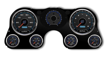 New Vintage 1967-72 Chevy/GMC truck gauge packages offer original style and reliable instrumentation direct from Detroit, USA! Perfect for your project truck, these New Vintage gauge sets provide period-inspired graphics in mint green and LED backlit black dials for your GM truck. Their updated technology offers precision, full-sweep stepper motor gauges to monitor your engine's vitals, and their exclusive floating dial on the speedometer and tach. Plus, they include a T-case, auxiliary lamps, turn signals, high-beam, and exclusive indicator gauge with warning lamps. Choose either their basic kit or their complete kit that comes fully assembled with a pre-wired, factory-style bezel. With the direct fit and authentic looks you want, and the precision you need, New Vintage 1967-72 Chevy/GMC truck gauge packages are the right choice for your project.