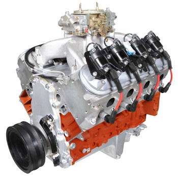 """Overview  HP & Torque: 625 HP / 550 FT LBS Compression Ratio: 11.0:1 Aluminum Heads Forged Pistons Roller Cam Forged Crank Part #: PSLS4270CTC Block  New GM LS3/L92 Aluminum Block! Rotating Assembly  Forged Steel Crankshaft Forged Mahle Pistons Forged I beam rods Mahle performance rings Balanced Rotating Assembly Hydraulic roller cam Premium single true roller timing set GM factory roller rockers with upgraded full roller trunion Cylinder Heads  New BluePrint Aluminum Cylinder Heads - PS8015 Chrome moly retainers and spring locators 2.165 intake valves 1.590 exhaust valves Hardened push rods Cam Specs  Roller - .624 intake .624 exhaust lift, 247 intake 263 exhaust duration @ .050, 114 degree lobe sep. Ignition Timing  Ignition box required Also Includes  Carburetor """" 850cfm with mechanical secondaries, dual accelerator pumps and mechanical choke Single plane aluminum intake Harmonic balancer Valve covers, retro fit oil pan and timing cover Coil Packs and coil pack harness Crank, cam and MAP sensors Spark plug wires & wiring harness Dyno tested & shipped with results Warranty  30 month / 50,000 mile Notes  This engine requires a non-weighted flexplate/flywheel. Recommended Fuel: 91 OctaneBluePrint Engines recommends a 2200+ RPM stall converter.Retro fit oil pan will fit most 1955-1995 GM front engine, RWD, V8 cars"""