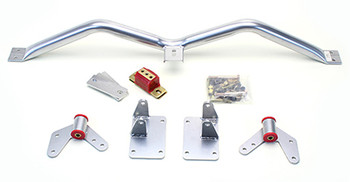 Mount and Crossmember Kit Includes motor mounts, frame brackets, transmission crossmember, transmission mount, and hardware.  Manufactured from the highest grade American made steel. They're laser cut, precision bent, powder coated and feature polyurethane bushings.  Comes with a lifetime free replacement warranty on the bushings.