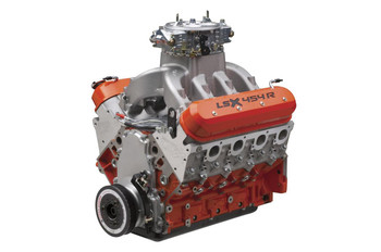 Chevrolet Performance LSX 454R crate engines are designed for the unique, high-rpm demands of drag racing. These 13.1:1 compression, naturally-aspirated, big-inch LS engines are officially rated at 776 hp at 7,000 rpm with 649 lbs.-ft. of torque at 5,100 rpm; and Chevrolet knows there is room for more. But more than power, the 454R engines are built for durability--the cast iron LSX Bowtie cylinder blocks are filled with all-forged rotating assemblies  They breathe through Chevy's LSX DR 11-degree, six-bolt aluminum cylinder heads that feature raised ports with 313cc intake runners to provide tremendous airflow. Chevy complements them with an exclusive, high-rise open-plenum intake manifold and a Dominator-type carburetor to complete the assembly. Chevrolet Performance LSX 454R crate engines are the ones you can depend on round after round, season after season, to deliver success at the track.