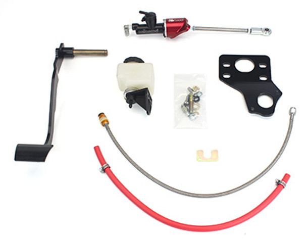 This hydraulic clutch conversion kit is a must when installing a TR6060 in your earlier vehicle.  Easy bolt-in installation gets you the great pedal feel of the hydraulic system with the additional clearance for headers.  Use with an OE style TR6060 throw-out bearing for a dependable, maintenance-free, self-adjusting system.   This complete kit made specifically for your model car includes a new clutch pedal, pedal linkage, master cylinder,  firewall mounting brackets, remote reservoir, stainless braided clutch hose, fittings, and all necessary mounting hardware.