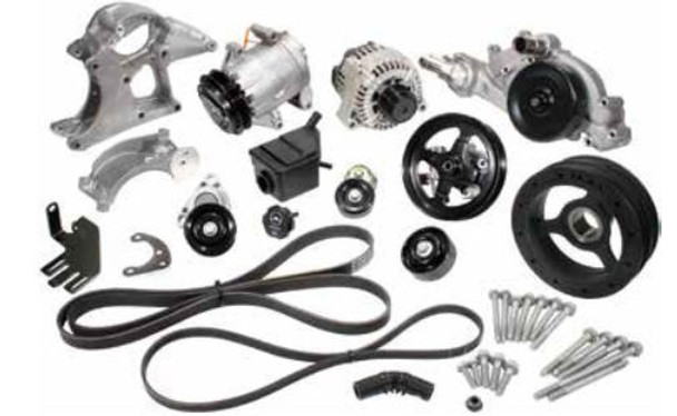 It's time to install an engine that requires no maintenance, is super lightweight, puts out unbelievable horsepower and torque yet gives you a car you can just jump in, hit the key and go. We've got just what you need to finish off that motor and get it into your ride. These kit will work on all LS motors and 2000 and newer Vortec motors. Kit includes A/C compressor and bracket, P/S pump and bracket, P/S reservoir, alternator and bracket, pulleys, tensioners, belts and hardware.