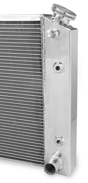 Radiator Style: Crossflow Overall Width (in): 29.750 in. Overall Height (in): 16.625 in. Inlet Location: Upper passenger side Outlet Location: Lower passenger side Radiator Material: Aluminum Radiator Finish: Natural Core Width (in): 23.625 in. Core Height (in): 15.000 in. Row Quantity: 3 Transmission Cooler: No Inlet Size: -16 AN O-ring Outlet Size: -16 AN O-ring Tube Size: 11/16 in. Fan Included: No Radiator Cap Included: Yes Quantity: Sold individually