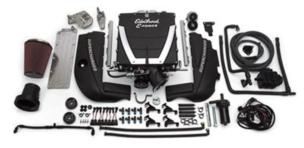 Edelbrock E-Force universal supercharger systems have been designed for engine swaps into street rods and musclecars. They feature 12 in. long runners for maximum low-end torque and great drivability. They are capable of an incredible 600+ flywheel horsepower and 550+ lbs.-ft. of torque. If you're looking for a supercharger system for your hot rod that's designed to provide instantly reliable horsepower with low boost for minimum stress on your engine, look no further than Edelbrock E-Force universal supercharger systems--they're exactly what you need for your engine swap project.   Edelbrock E-Force universal supercharger systems include the following components:  * Supercharger manifold assembly * Cast aluminum tensioner/idler bracket * Cast aluminum engine valley tray * Heavy-duty automatic belt tensioner * Dual, high-capacity, bar and plate, intercoolers * High-flow 95mm mass airflow sensor housing  * Extruded aluminum fuel rails with -6 AN lines * Custom-molded intercooler hoses with quick-connect fittings * Electric intercooler water pump * Intercooler recovery tank * Fuel injectors * Steel idler pulleys with heavy-duty, high-speed bearings * High-flow conical air filter * Edelbrock aluminum engine covers * Plug and play, electrical harness, installation hardware * 3.5 in. supercharger pulley