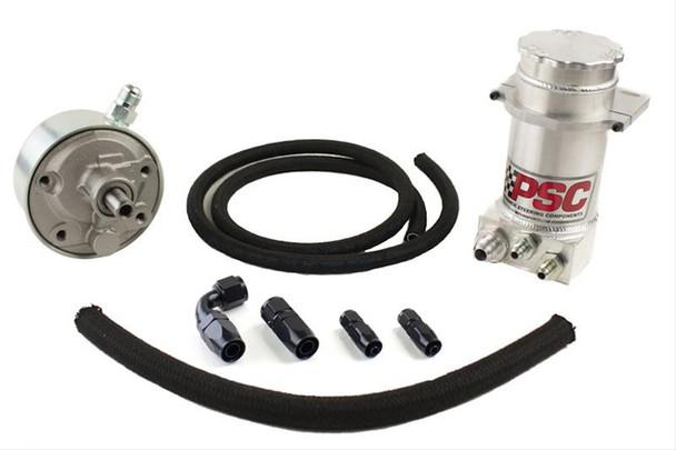 "Power Steering Remote Reservoir Kit, Gen IV 8.25"" Hydroboost w/ Clamp & Hose Kit #6 Return #10 Feed Black"