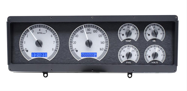 Silver alloy gauge face, numbers and pointers illuminate blue at night. Original bezel required for installation. Clock displays in message center.