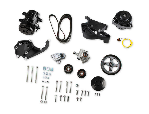 "Features: 70R156 - BELT, 6V SERPENTINE Universal brackets fit virtually all common LS engines regardless of water pump and harmonic balancer offsets reducing cost and complexity compared to competitive products The most cost effective LS/LT bracket solution on the market! Simple, dedicated installation kits allow easy fitment to Corvette, F-Body or Truck drive offsets Accessories, tensioner, and pulleys are manufactured by OEM suppliers many of which are on production vehicles today. KIT Contains: 97-152 - PULLEY, P/S PUMP 20-132 - LS A/C DRV BRACKET KIT 97-151 - TENSIONER ASSM W/GROOVED PULLEY 97-150 - IDLER PULLEY, SMOOTH, 2.75"" DIAMETER 197-400 - HARNESS PIGTAIL, ALTERNATOR, AD STYLE 199-102 - AC SD7 SANDEN COMPRESSOR, R-134a 198-100 - P/S PUMP, CORVETTE ALUMINUM 197-301 - ALTERNATOR, 130 AMP, LARGE CASE Ideal for crate engines, take out motors and engine builders OEM spec flanged head hardware included to match your factory LS engine hardware OEM quality natural finish die castings for clean looks and durability. Can be polished, coated, painted or plated."