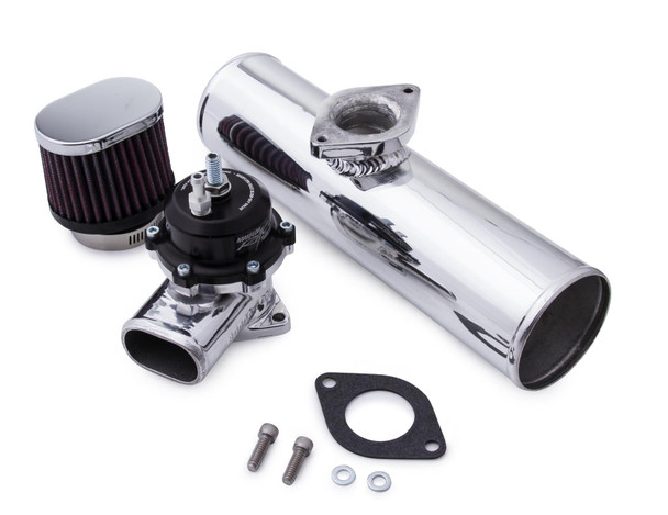 Adjustable: Yes Aluminum Flange Included: Yes Steel Flange Included: No Blow-Off Valve Material: Aluminum Blow-Off Valve Finish: Polished Quantity: Sold as a kit. Notes: Flow is rated for 320 cfm at 8 PSIG. Bypass valve opens as 4-5 in.Hg. This kit uses existing hoses and clamps to complete installation.