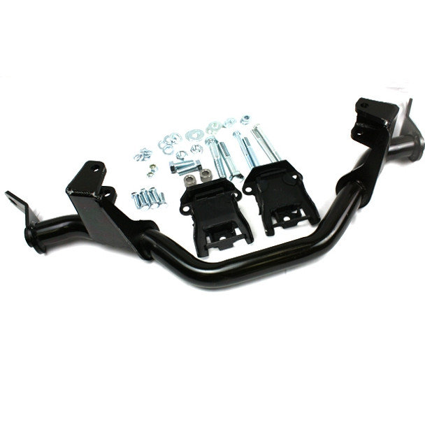This bolt-in, saddle mount kit is designed for exclusive use in the 1987-95 Jeep YJ Wranglers. It is used to install a GM V8 and TH350/700R4/4L60/4L60E at the same time. This bolt-in engine kit is ideal only when using a GM auto up to the stock transfer case or an Atlas transfer case (left drop).  The bolt-in engine mount kit includes our bolt-in saddle mount, stock GM engine rubber mount / cushions, fastening hardware and engine mount instructions.  Note: Requires use of a Holley 302-1/302-2 Oil Pan  Note: It is not recommended to use this bolt-in engine mount saddle when attempting to retain the stock Jeep transmission (manual or automatic).