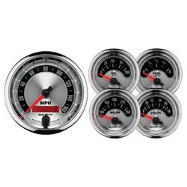 Gauge Kit, Analog, Black, Speedometer, Water Temperature, Fuel Level, Voltmeter, Oil Pressure, Kit