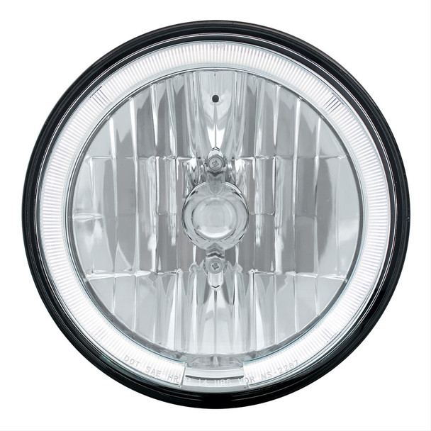 Headlight, Conversion, Round, Crystal Headlight with White LED Halo Ring, 7.00 in. Diameter, Each
