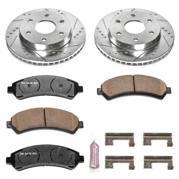 Brake Rotors/Pads, Drilled/Slotted, Iron, Zinc Dichromate Plated, Front, 6 Lug, Cadillac, Chevy, GMC, Kit