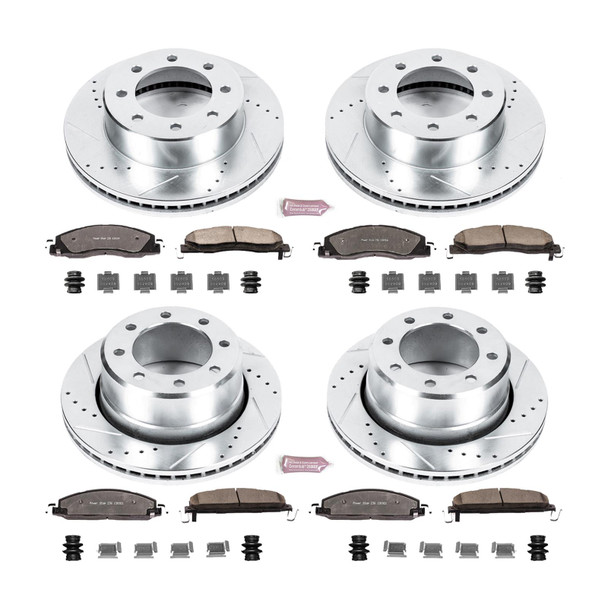 Brake Rotors/Pads, Truck and Tow, Drilled/Slotted, Iron, Zinc Plated, Front/Rear, Dodge, Ram, Kit