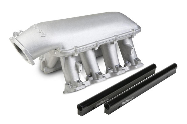 These Holley EFI LS Hi-Ram intake manifolds are designed for your high performance race engine. Big cube and high-rev applications without height limitations are the intent for these manifolds. With cathedral port heads only. Fuel rails are machined for -8 AN O-ring male fittings.
