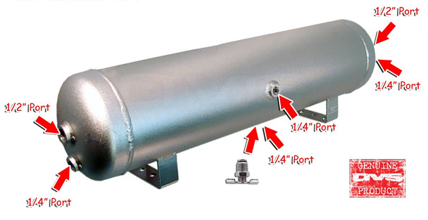 FREE DRAIN PORT FITTING !! 5-GALLON 6-PORT TANKS HAVE DUAL DRAIN PORTS, WHICH MEANS THAT THEY CAN BE MOUNTED ON A TRUNK FLOOR (LEGS DOWN) OR MOUNTED TO THE SIDE OF YOUR VEHICLE'S FRAME (LEGS TO THE SIDE).