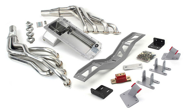 "Hello Lexus Guys!. Get your SC300/SC400/Soarer on the road daily - get your project on the road with this swap kit!   This swap kit is for 91-2000 Lexus SC/Toyota Soarer. This kit replaces the frame brackets in addition to the mounts so you'll have clean mounting of your engine and not a mix of parts that are weak and don't work together properly. The frame brackets bolt into existing holes in the frame and locates the engine to give you the most options for front accessories drives. Unlike others, our kit positions the engine so there is no steering interference and maintains the proper drive-line angle for smooth highway cruising. It provides clearance for the factory AC box, power brake booster, and aftermarket suspension components.  Optional headers that give unparalleled performance and ground clearance with sizes that are matched to your engine combo. These combined parts offer an easy, strong, and clean installation of your LT engine.   This kit includes the following:  Mount and Crossmember Kit  Includes motor mounts, frame brackets, transmission crossmember, transmission mount, and hardware.  Manufactured from the highest grade American made steel. They're laser cut, precision bent, powder coated and feature polyurethane bushings.  Comes with a lifetime free replacement warranty on the bushings.  64-72 C10 Truck LT Conversion Kit  LS Oil Pan kit  The oil pan our kit was designed around. Comes standard or machined for the oil bypass valve for use with displacement on demand or variable valve timing. Includes new full length windage tray, pickup tube, hardware, gasket, dipstick, and our pickup tube girdle.  LT engine series Conversion Oil Pan   ----------------------------------------------------------------------------------------------------------------------------  Optional LS Swap Headers   LT Series 1 7/8"" SS Long Tube Headers  This kit does not include headers. Click on the dropdown to add the ceramic coated Headers"