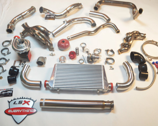 """This is the turbo kit you have been looking for!  Now you have the perfect option for your under powered Chevy/GMC Truck! Tired of not being able to get your dually out of its own way? Now you have the right option, and you don't need a Cummins to get it done and have that sound! LS Swap it and GO TURBO! Please note that for best results, you will want to use our Motor Mounts for your swap.  Perfect Fitment. Keeps All Stock Parts and Accessories. MAF Sensor Wires May Need to Be Cut and Extended. The standard kit comes with a single Big T4 Turbo Provision, Supports 700-800 WHP. The standard turbo is most efficient up to 18psi, the ball bearing turbos are efficient up to 22-35 psi each, depending on which version you get (ball bearing vs. billet ball bearing). 60mm Vband WG and 50mm BOV Provision 2.5"""" Cross Pipe 3"""" Turbo Downpipe then Enlarged to 3.5"""" Exhaust Pipe    For Larger Vortec V8 (5.3L, 6.0L) with Built Motor and Larger Turbo, This Kit Supports 700-800 WHP with the standard turbo. Expect more with the Turbo Upgrades and intercooler.  Don't forget to your fuel injector upgrade   Includes:  -T76 Turbo, with Filter -Turbo Headers + Cross Pipe (3 pieces) -Downpipe (3 pieces) -Dump Pipe (1 piece) -Wastegate -2.5'' Vband Clamp x2 -3'' Vband Clamp x3 -T4 Turbo Elbow Adapter x1 -Oil Line Kit  Product Info and Specs:  Manifold: -Custom designed for 4.8/5.3/6.0. Keeps All Stock Parts and Accessories Stainless Steel 1.65"""" Runner Tube -T4 Turbo Elbow Adapter. Flexible Fitment For Many Turbos. -60mm Vband Wastegate Provision -2.5"""" Cross Pipe with Vband Connections -Comes with 60mm WG Dump Tube Downpipe: -2 pcs 3"""" Downpipe Connects to Turbo (Fits Turbo with 3"""" Vband Exhaust Outlet) -3.5"""" Straight Exhaust Pipe  T4 Turbo and Wastegate: -4"""" Air Inlet -2.5"""" Compressed Air Outlet -Wet Floating Bearings -Standard T4 Flange -76mm Wheel Compressor -.81 A/R Turbine -3"""" V-band Hot Side -60 mm 12Psi V-Band Wastegate Note:  Intercooler Kit Upgrade is available from the dropdown menu ab"""