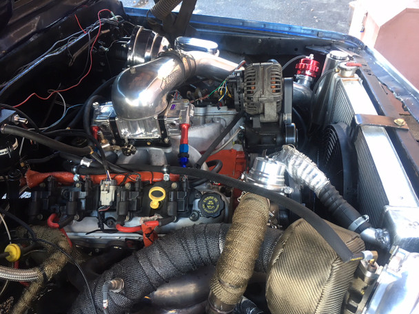 Our turbo kit installed on a built motor with Carb (carb parts not included, but we can help you choose the parts for it)