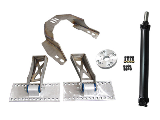 """Engine Mounts + Transmission Mounts + Driveshaft + Aluminum Adapter Plate + Bolts  Motor / Transmission Mounts: -Heavy Duty 7 Gauge (0.18"""") Thick Stainless Steel Panel, with Brace Offers Strong Support -Adjustable Slotted Bolt Holes -Polyurethane Bushing Mounts -Patented Design of Aluminum Motor Mount Plate is Extruded Billet Aluminum, Excellent Strength -Each Mount Holes is 1/2"""""""" Apart, Can Move the Motor Forward and Backward by 1/2"""""""" Increments"""