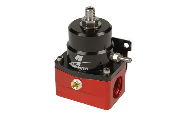 Intended for use with custom fuel rails, these true billet A1000 injected bypass regulators are specifically designed for use with Aeromotive's A1000 fuel pumps. These alcohol-compatible regulators are beautifully finished with red and black anodized coatings or mirror like, show-quality nickel finish.
