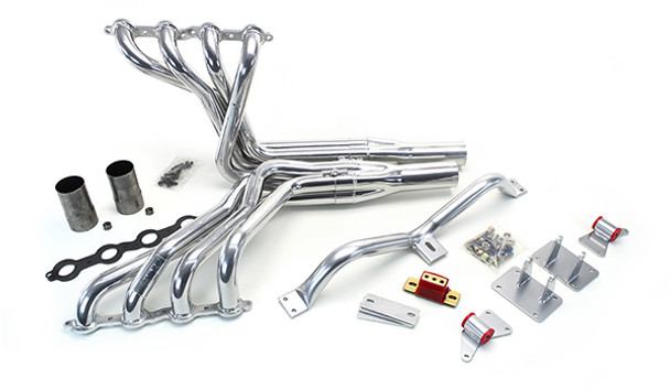 1988-1998 GM Trucks LS Conversion Kit  This swap kit is for 1988-1998 GM ½ ton 2 wheel drive trucks and SUVs. It was designed around our GM LH8 oil pan. Unlike most LS swap parts on the market this kit replaces the frame brackets in addition to the mounts so you'll have clean mounting of your engine and not a mix of parts that are weak and don't work together properly. The frame brackets bolts into existing holes in the frame and and locates the engine to give you the most options for front accessories drives. Unlike others, our kit positions the engine so there is no steering interference and maintains the proper drive-line angle for smooth highway cruising. It provides clearance for the factory AC box, power brake booster, and aftermarket suspension components.  We offer a complete line of headers that give unparalleled performance and ground clearance with sizes that are matched to your engine combo. These combined parts offer an easy, strong, and clean installation of your LS engine.