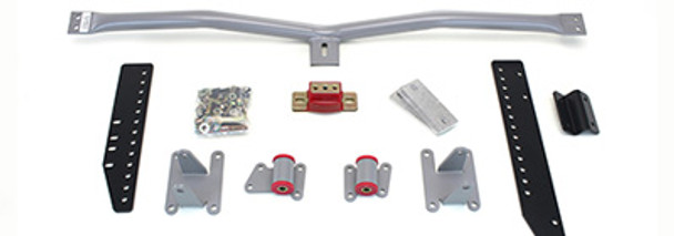 Mount and Crossmember Kit for (82-88) Monte Carlo & (83-87) Cutlass.  Includes motor mounts, frame brackets, transmission crossmember, transmission mount, and hardware.  Manufactured from the highest grade American made steel. They're laser cut, precision bent, powder coated and feature polyurethane bushings.  Comes with a lifetime free replacement warranty on the bushings.