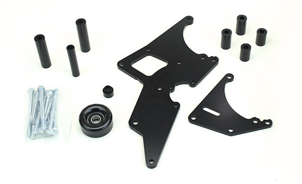 These Front accessory drives are the perfect fit for any LS swap. They're designed to use original equipment balancer, waterpump, alternator, pulleys and idlers for ease of getting replacement parts. The brackets are machined aluminum and powder coated black for long lasting good looks. The alternator and powers steering bracket kit is available with or without a new power steering pump and reservoir, so you have an option to use an existing f-body pump. The AC kit comes with a Sanden style 7 piston compressor for excellent cooling. These drives are great to use with pull out engines since you can reuse a lot of the components that your engine came with. They all come in three different configurations since the LS engines were built with three different balancer and waterpump lengths. Short length for Corvette, CTS-V, and Pontiac G8. Medium length for 98-02 Camaro / Firebird and Pontiac GTO. Long length for Truck, SUV and 2010 up Camaro. These well thought out accessory drives help make your LS swap quick, easy and affordable.