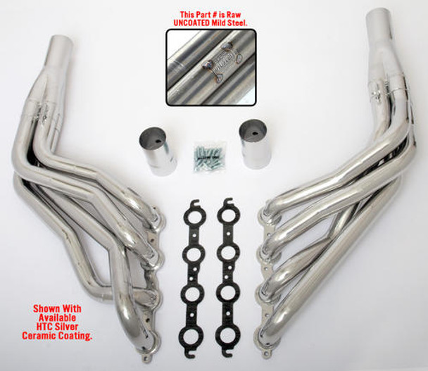 """These Headers are designed specifically for installing an LS engine into 1967-98 Chevy/GMC 1/2 Ton Trucks and SUVs (C10, C15, C1500, R10, R1500 trucks, Suburbans, Yukons and Tahoes), and are available in a variety of tube lengths and diameters. ALL MUSCLE RODS HEDDERS are available in uncoated mild steel, or with Hedman's original HTC or Husler's NEW BLACK MAXX Ceramic Coating. These headers will work with our LS Swap kits.  These headers are 1 3/4"""" long tube and uncoated."""
