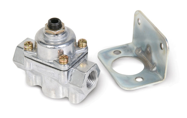 """Adjustable fuel regulation from 4-1/2 to 9 psi Preset to 7psi 3/8"""" NPT ports (1 in, 1 out, 1 bypass or return) Used in systems with a return line back to the fuel tank Quieter fuel pump operation Designed only for carburetor use Chrome finish Mounting bracket included  Holley fuel pressure regulators are designed to precisely control the fuel pressure from the fuel pump to the carburetor. Too much fuel pressure for a given needle and seat assembly can overload the needle and seat and may cause flooding or drivability problems. Each Holley fuel pressure regulator is fully adjustable so regulating the fuel pressure to your engines needs is a simple task. All Holley regulators are pre-set at the factory so there is no guesswork when first installing the regulator. The Holley 12-803BP fuel pressure regulator features 3/8"""" NPT in/out ports and a 3/8"""" NPT return port."""