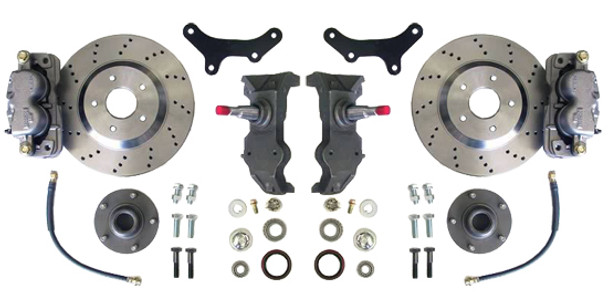 """Upgrade the look and feel of your 68-74 Chevy Nova with an altitude and attitude adjustment!  13"""" Cross-Drilled rotor kit, 2"""" drop spindles and all of the hardware to install it. This kit requires the use of a minimum of a 17"""" wheel.  Order yours and get your Nova stopping on a dime today!"""