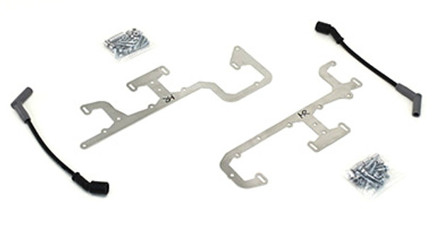 "Our Coil Relocation Kit alleviates the problem of the rear coils hitting the power brake booster or air conditioning box when swapping the LS engines into early vehicles. The relocation brackets are laser cut from brushed stainless steel for a great clean appearance. It relocates the rear coil upwards to provide adequate clearance for power brake boosters and air conditioning. Each kit includes all necessary hardware along with one of our 12"" high performance spark plug wires. Installation is easy, the brackets bolt to the valve cover using existing mounting holes on factory valve covers (as well as most aftermarket valve covers)."