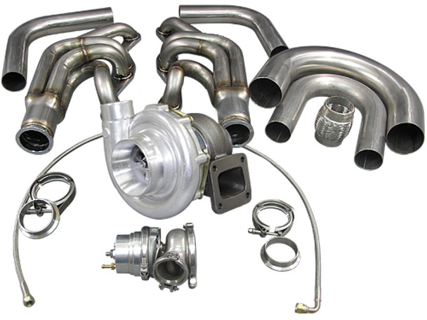 """LS Swap Kit/Twin Turbo Kit For 1963-1965 Chevrolet Chevelle   Kill two birds with one stone! LS Swap your Chevelle AND twin turboit at the same time!  Note: Due to Front Grill and Bumper Support Difference, This Kit ONLY Fits 1963-1965 Chevelle, Does NOT Fit 1966+ Chevelle Perfectly. Modification to Intercooler Brackets, and Piping Are Needed if You Try to Fit This Kit on 1966+ Chevelle.   Includes the Following: - T4 GT35 Turbo x One Pair - 46 mm WG x One Pair - Oil Line Kit + Oil Fittings - Oil Pan - Engine Mounts - Manifold x One Pair - Downpipe x One Pair - Dump Tube x One Pair - V-band Clamps x 6 Pcs  Motor Mounts: - Heavy Duty 7 Gauge (0.18"""") Thick Stainless Steel Panel, with Brace Offers Strong Support - Adjustable Slotted Bolt Holes - Polyurethane Bushing Mounts - Patented Design of Motor Mount, Excellent Strength - Works with Chevelle Factory Transmission Mount, Just Need to Move Back By Around 2.5""""  Oil Pan: - Rear Sump Pan - Built-in with Baffles for High Performance and Race Applications - 1/2"""" Thick Aluminum CNC Cut Flange - AN8 Oil Port Fitting for External Oil Filter and/or Oil Cooler - Holds 5 1/2 Qt of Oil  T4 GT35 Turbos and Wastegates: - 4"""" Air Inlet - 2.5"""" Compressed Air Outlet - Standard T4 Turbine Housing Flange - 3"""" Vband Exhaust Outlet - Journal Bearing - .70 A/R Compressor - .68 A/R Turbine - 46 mm Vband 8 PSI Wastegate  Manifolds: - Twin T4 Turbo Manifold, Support Dual 44mm or 46mm Wastegate - 1.65"""" Runner - 3"""" Vband Outlet with 46mm WG Flange  Turbo Elbow: - T4 Turbo Flange (to Turbo Side) - 3"""" Vband FLange (to Header Side) - Cast 304 Stainless Steel  Downpipe and Dump Tube: - Dual 3"""" Vband Downpipe, Fits 3"""" Vband Turbo Exhaust Housing - Dual 46mm WG Dump Tube"""