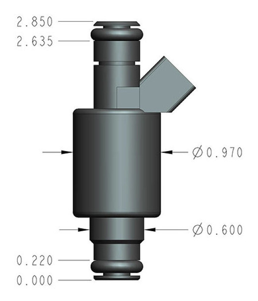 Bosch/EV1 style performance injectors - Set of 8 Low impedance (2.0 Ohms) for use with peak and hold drivers Rated injector flow: 160 lb/hr @ 43 PSI Supports up to 2525 horsepower Tri-cone spray pattern Maximum recommended fuel pressure: 75 PSI