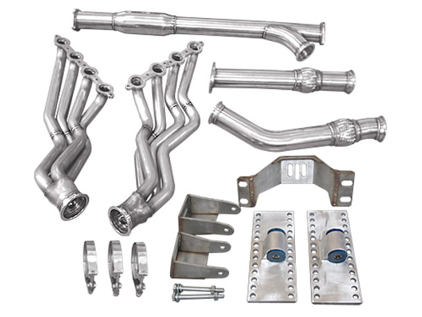 "No more wait! Now your JDM spirit can accomodate the need for V8 power and the ultimate in reliability! Get your Supra Swap going with our LS Swap Kit!  Engine Mounts,Transmission Mount, Oil Pan, Headers, Exhaust Y-Pipe & 3"" V-Band Clamp  Left-hand drive configuration; if your are building one for RHD, modifications will be necessary.  Last Piece of Exhaust System (Axle Back Pipe, with Muffler) Is NOT Included. We Offer Complete Exhaust System Separately"