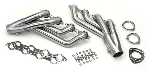 """We have been working with Ultimate Headers to develop these awesome headers to work with our LS engine swap kits. They feature investment cast flanges that provide a custom look never available before. They are made from race proven 321 Stainless Steel tubing for light weight and durability. The 1 7/8"""" primary tubes have shown on the dyno that they will support 600+ hp with virtually no disadvantage to long tube headers. They're available in a brushed satin finish, a mirror polish, or a black ceramic coating. They come with stainless bolts and washer, stainless gaskets, and investment cast collector flanges that are unwelded to give you installation options. If you're looking to give your project the sculpted elegance of a true work of art, these are the headers for you."""