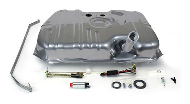 These conversion fuel tanks solve the problem of supplying your new LS engine with a steady flow of fuel. The tanks, made specifically for your car, feature a recessed area in the top for the fuel pump module and sending unit, so no floor modifications are needed for clearance.  They have an innovative baffling system inside to control fuel slosh and keep the pump fed even at low fuel levels and extreme driving conditions.  They are galvanized steel and powder coated silver for maximum durability. The kit includes a fuel sending unit designed to work with your factory style fuel gauge.  The included fuel pump module features an in-tank wiring harness and three ports - one for the feed line, one for the return line, and one for the vent.  This includes the 400 LPH pump for supercharged or 550+hp applications. The kit also includes tank straps, vent filter, gaskets, and hardware. They look like original equipment from under the car and are absolutely the best way to go when converting to EFI.