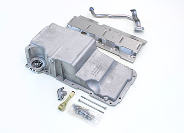 F-body Oil Pan The f-body oil pan gives a little more ground clearance but does not clear the factory power assist slave cylinder. The CTS-V pan is needed if running factory style power steering. Includes windage tray, pickup tube, hardware, gasket, and dipstick.