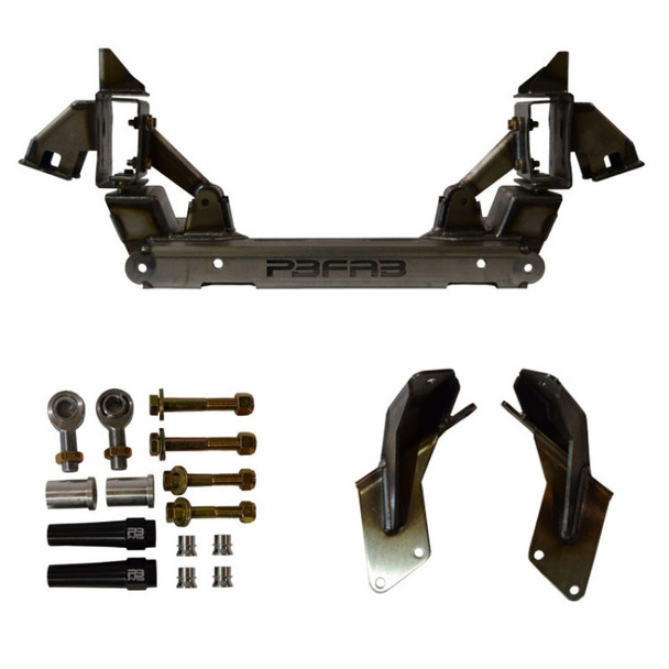 "The Version 7 Dropmember Front suspension system is designed to replace the factory cross-member and steering system. It is engineered as a modular bolt-in unit that requires no welding.   ALL DROPMEMBER KITS INCLUDE MOTOR MOUNTS, SHOCK RELOCATE BRACKETS AND RACK & PINION HARDWARE.  ONLY AVAILABLE IN THE LEVEL 1 MILD OR LEVEL 3 EXTREME.  Level 1 When combined with a 2.5"" drop spindle and 28"" tall tire, the Level 1 Front will set the lowest point of the factory frame rails approx. 3"" off the ground when fully deflated.  Level 3 When combined with a 2.5"" drop spindle, 29"" tall tire, the Level 3 Front will set the lowest point of the factory frame rails on the ground when fully deflated."