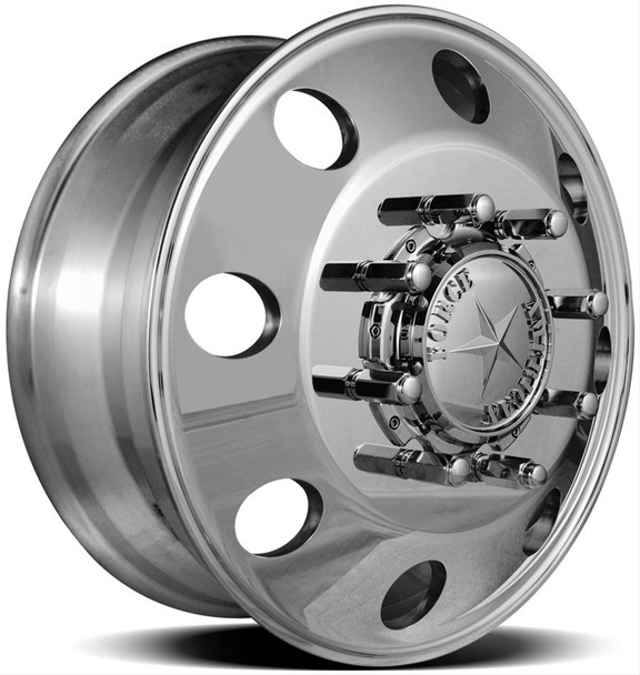 ront Wheel Diameter (in): 22.5 in. Front Wheel Width (in): 8.250 in. Front Wheel Offset: +169.00mm Front Wheel Backspacing (in): 12.500 in. Front Wheel Material: Aluminum Front Wheel Primary Color: Polished Front Wheel Finish: Matte Rear Wheel Diameter (in): 22.5 in. Rear Wheel Width (in): 8.250 in. Rear Wheel Material: Aluminum Rear Wheel Primary Color:Polished Rear Wheel Finish: Matte Wheel Construction: 1-piece Front Wheel Beadlock Included: No Front Wheel Beadlock Functional: No Rear Wheel Beadlock Included: No Rear Wheel Beadlock Functional: No Lug Nuts Included: No Lug Nut Seat Style: Flange Wheel Adapter Included: Yes Center Cap Included: Yes Valve Stems Included: Yes Valve Stem Material: Aluminum Valve Stem Finish: Polished Quantity: Sold as a set of 4. Notes: Included hub adapters adapt a 8 x 6 1/2 in. vehicle bolt pattern to a 10 x 285mm wheel bolt pattern.