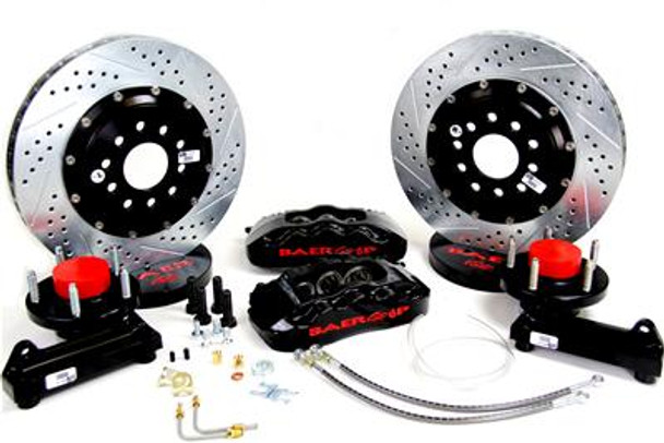 Position:Front Front Rotor Included:Yes Front Rotor Style:Cross-drilled/Slotted surface Front Rotor Construction:Vented   Front Rotor Diameter:14.00 in./355.60mm Front Rotor Thickness (in):1.150 in. Rear Rotor Included:No Front Caliper Included:Yes ront Caliper Piston Quantity:Six Front Caliper Material:Forged billet aluminum Front Caliper Finish:Black powdercoated Rear Caliper Included:No Parking Brake Provision:No Minimum Recommended Wheel Diameter (in):18 in. Front Spindles Included:No Master Cylinder Included:No Brake Booster Included:No Brake Hoses Included:Yes Quantity: Sold as a kit. Fits GM 5-lug CPP drop spindle 2WD 1/2 ton pickups. Requires the use of Classic Performance Products 2 in. drop spindles; uses Corvette C5/C6 front pads (FMSI# D0731). Includes stainless braided brake hoses and 6061-T6 billet machined hubs with Timken or SKF bearings installed. Hubs are pre-assembled with bearings, races, and studs, and packed with Redline synthetic grease.