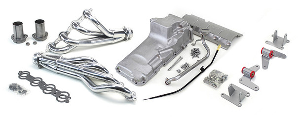 """Tired of trying to piece things together? Look no further! Now you can have LS power in your 4WD 88-98 Truck or SUV!  This LS swap kit is for 1988-1998 GM ½ ton 4 wheel drive trucks. It was designed around our GM LH8 Oil Pan kit. The frame brackets bolt into existing holes in the frame and was designed to give you the best options for other components. Unlike other mounts, ours position the engine so there is no steering interference, and our crossmember maintains the proper drive-line angle for smooth highway cruising. It provides clearance for the factory AC box, power brake booster, and aftermarket suspension components.  The following combined parts offer an easy, strong, and clean installation of your LS engine.   This kit includes the following:  1 3/4"""" Mid Length Headers  These headers offer many feature that are normally only on custom race headers. We start with 3/8"""" laser cut flanges with the tubes welded inside and out and then machined. They use a gasket-less ball and socket type collector for a leak free install. They're ceramic coated inside and out to fight performance robbing underhood temperatures then polished for a long lasting show quality finish. They have 1 ¾"""" primaries that support over 500 hp and offer great ground clearance with their mid-length. They include gaskets, bolts, reducers, and O2 sensor bungs.    LH8 Oil Pan  The LH8 pan is the oil pan that our LS swap was designed around. It comes standard or machined for the oil bypass valve to use with displacement on demand or variable valve timing. Includes new full length windage tray, pickup tube, hardware, gasket, dipstick, and our pickup tube girdle."""