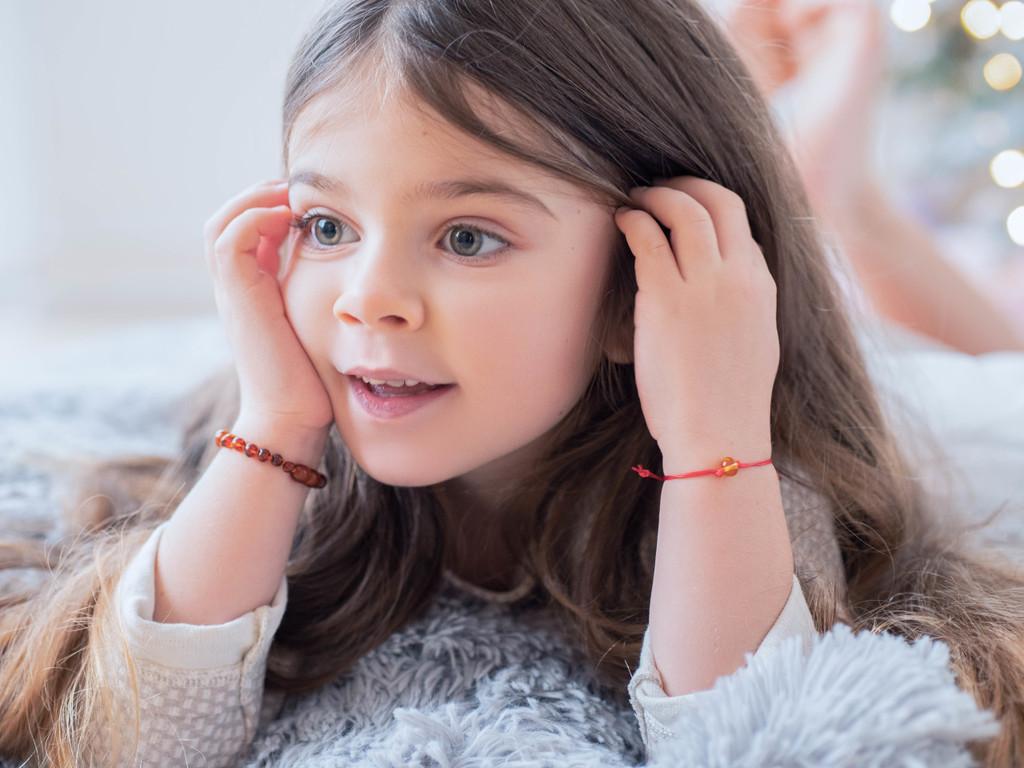 Amber teething bracelet / anklet - dark cognac rounded amber beads