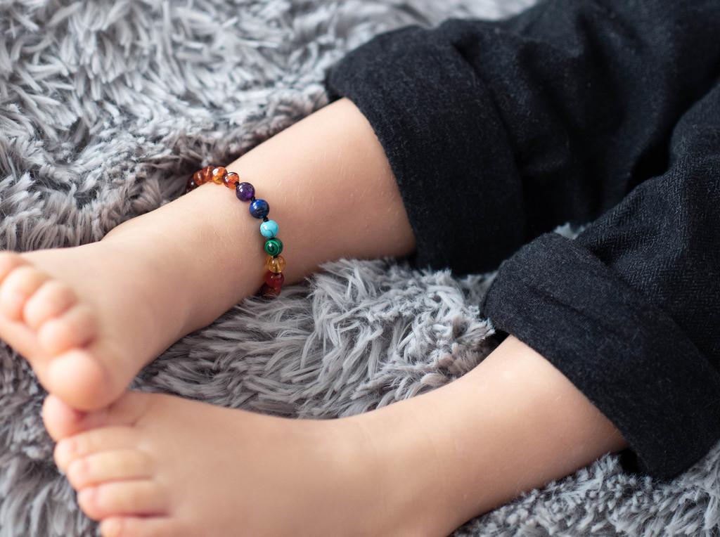 Chakra beads amber teething & colic bracelet / anklet